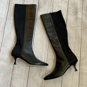 VANELI Tall Black Boots with Kitten Heel Size 8